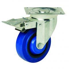 125mm Blue Rubber Swivel Brake Castor