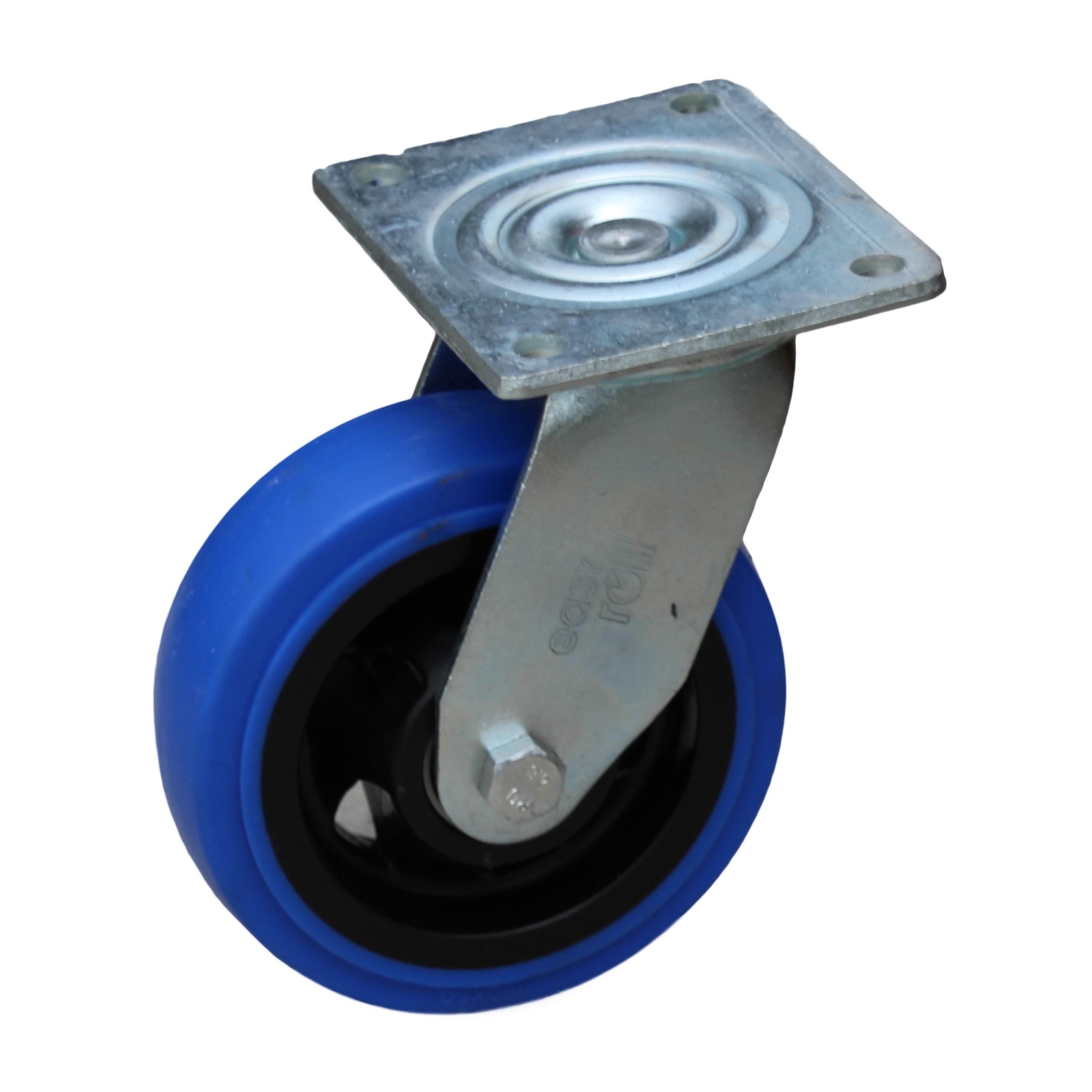 150mm blue rubber swivel castor trolley castors wheels for Castor services