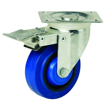 125mm Blue Rubber Swivel Brake Castor