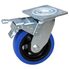 150mm Blue Rubber Swivel Brake Castor
