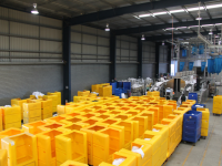 Rotoplas Tallboy Linen Exchange Trolleys in use in a Large Commercial Laundry